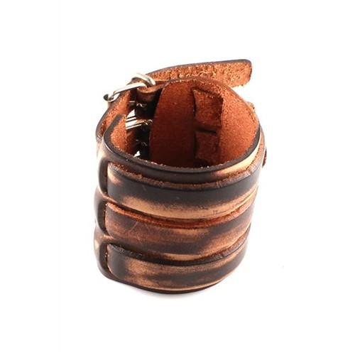 Piamen Erkek Bileklik Deri Kelepçe Model Kahverengi