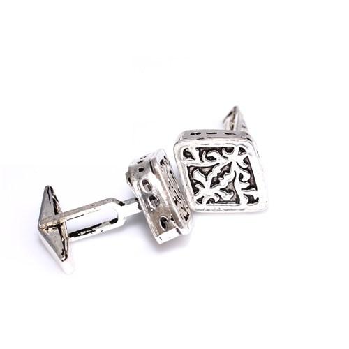 Nusrettaki 925 Ayar Gümüş Ajor Desenli Baklava El İşi Kol Düğmesi