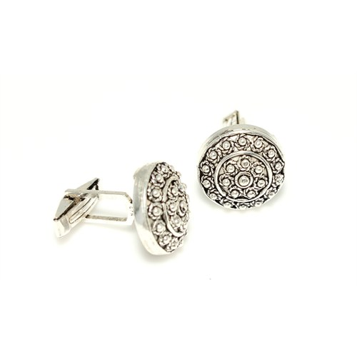 Nusrettaki 925 Ayar Gümüş Telkari Desenli Yuvarlak Kol Düğmesi