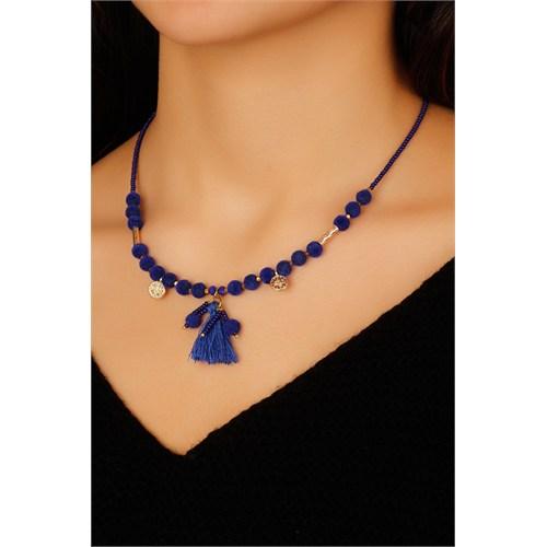 Morvizyon Saks Mavisi Boncuk Tasarımlı Püskül Detaylı Bayan Kolye Modeli