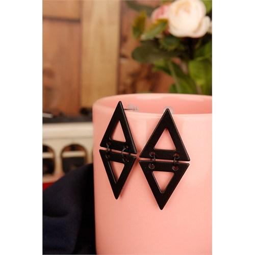 Morvizyon Siyah Mat Kaplama Geometrik Bayan Küpe