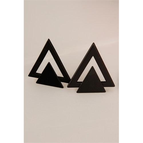 Morvizyon Siyah Mat Üçgen Formlu Bayan Küpe