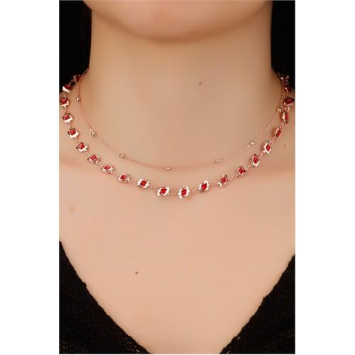 Morvizyon Bronz Zincir Tasarımlı Kırmızı Renk Detaylı Bayan Kolye