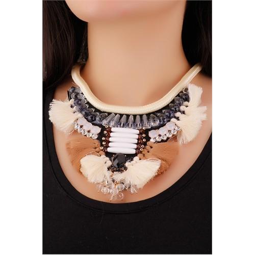Morvizyon Bej & Kahverengi Püskül Tasarımlı Gri Taş Detaylı Şık Bayan Kolye Modeli