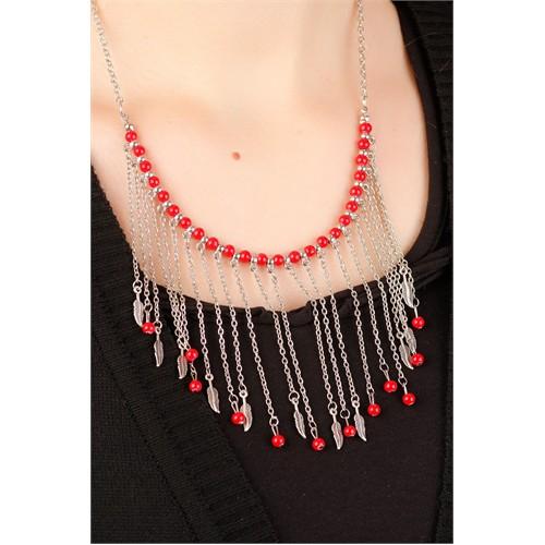 Morvizyon Gümüş Kaplama Zincir Tasarımlı Kırmızı Boncuk & Yaprak Figürlü Uzun Bayan Kolye