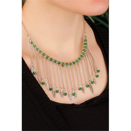 Morvizyon Gümüş Kaplama Zincir Tasarımlı Yeşil Boncuk Ve Yaprak Figürlü Uzun Bayan Kolye