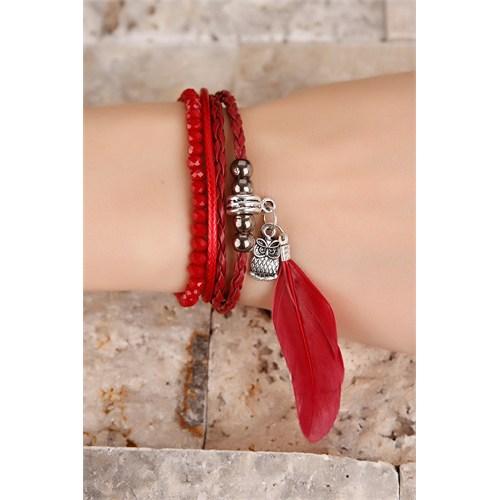 Morvizyon Kırmızı Boncuk Tasarımlı Tüy Detaylı Bayan Bileklik