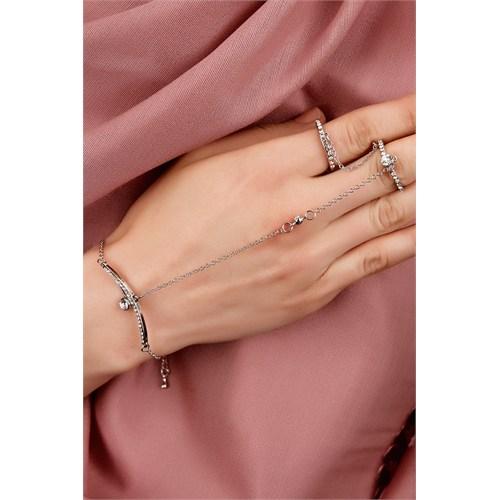 Morvizyon Gümüş Kaplama Zincir Tasarımlı Kristal Taş İşlemeli Bayan Şahmeran Modeli