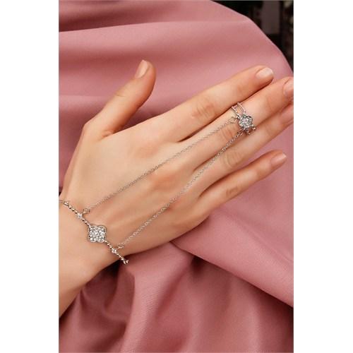 Morvizyon Gümüş Kaplama Zincirli Çiçek Figürlü Bayan Şahmeran Modeli