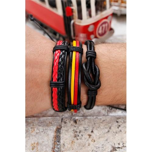 Morvizyon Sarı Kırmızı & Siyah Renkli Tasarım Erkek Deri Bileklik Kombin