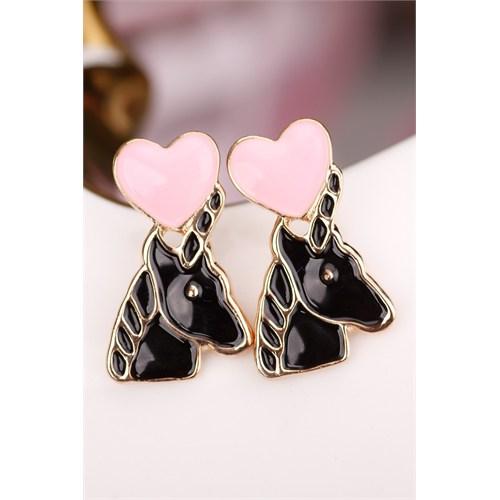 Morvizyon Siyah At Figürlü Pembe Kalp Detaylı Bayan Küpe
