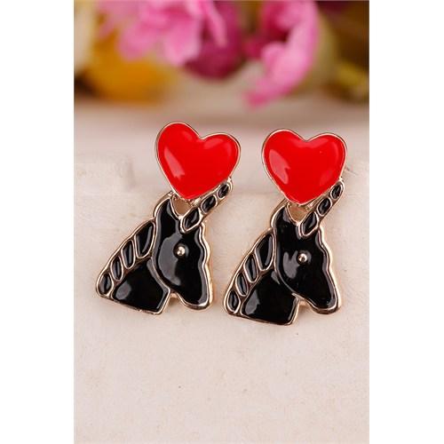 Morvizyon Siyah At Figürlü Üstü Kırmızı Kalp Tasarımlı Bayan Küpe