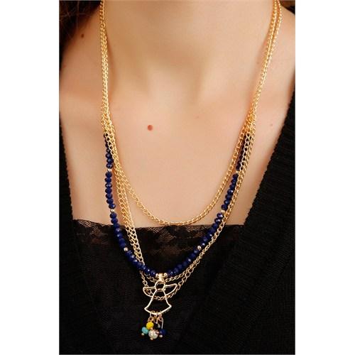 Morvizyon Mavi Taşlı Gold Zincir Detaylı Melek Figürlü Bayan Kolye