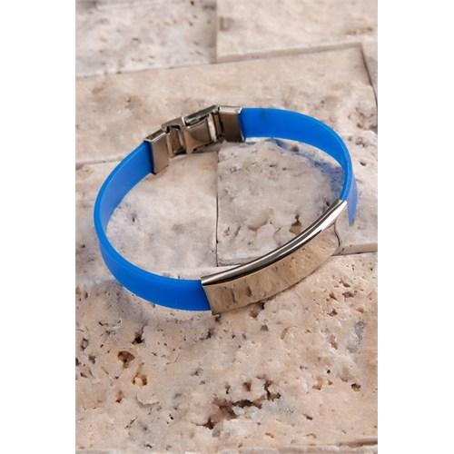 Morvizyon Mavi Silikon Kordonlu Çelik Tasarımlı Erkek Bileklik