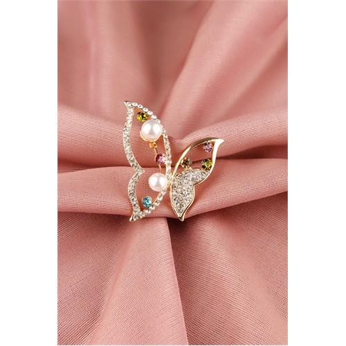 Morvizyon Gold Parlak Taşlı Kelebek Tasarımlı Bayan Broş