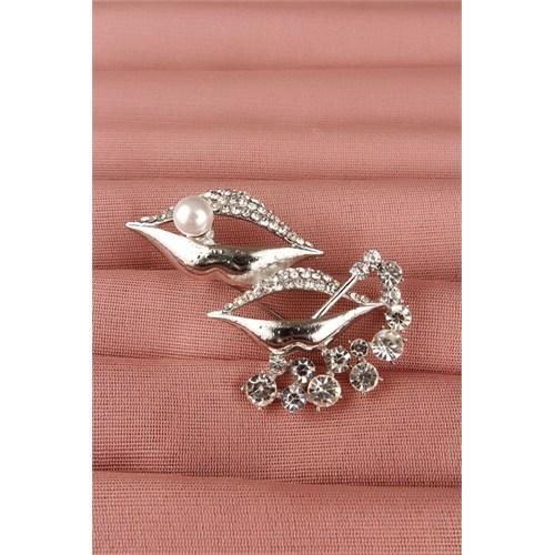 Morvizyon Gümüş Parlak Taşlı Dudak Tasarımlı Bayan Broş