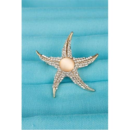 Morvizyon Gold Parlak Taşlı Deniz Yıldızı Bayan Broş