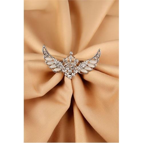 Morvizyon Gümüş Parlak Taşlı Kanat Tasarımlı Bayan Broş