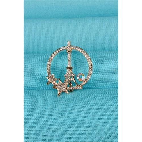Morvizyon Gold Eyfel Kulesi Parlak Taş Detaylı Bayan Broş