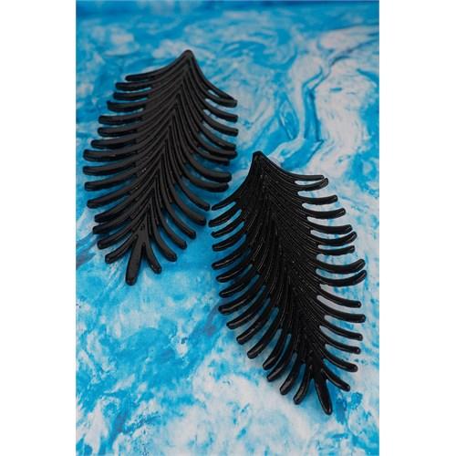 Morvizyon Siyah Mat Yaprak Tasarımlı Bayan Küpe