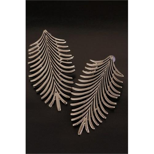 Morvizyon Gri Metal Kaplama Tasarımlı Yaprak Figürlü Bayan Küpe