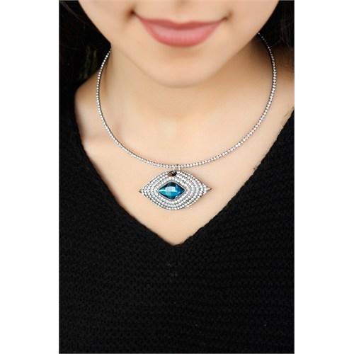 Morvizyon Gümüş Kaplama Kristal Taş İşlemeli Mavi Taş Detaylı Bayan Kolye Modeli