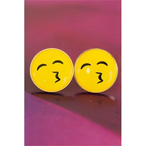 Morvizyon Emoji Tasarımlı Sarı Yuvarlak Detaylı Öpücük İfadeli Bayan Küpe Modeli