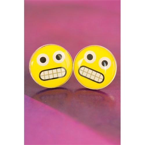 Morvizyon Emoji Tasarımlı Sarı Yuvarlak Kızgın İfade Yüzlü Bayan Küpe Modeli