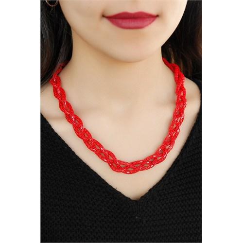Morvizyon Kırmızı Renkli Metal Hasır Tasarım Örgü Detaylı Bayan Kolye Modeli