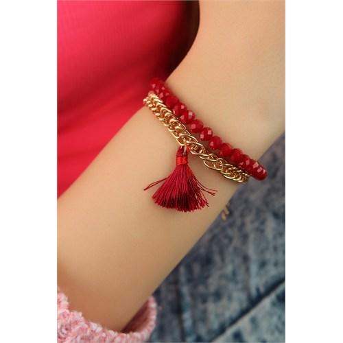 Morvizyon Kırmızı Püskül Tasarımlı Boncuk Detaylı Bayan Bileklik Modeli