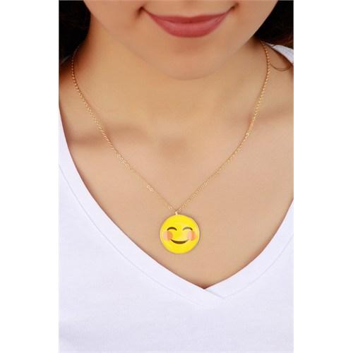 Morvizyon Trend Tebessüm Eden Emoji Bayan Kolye