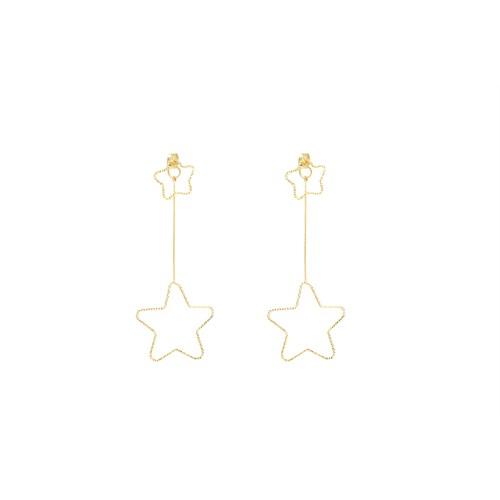 Eos Gold Kaplamalıuzun Yıldız Küpe