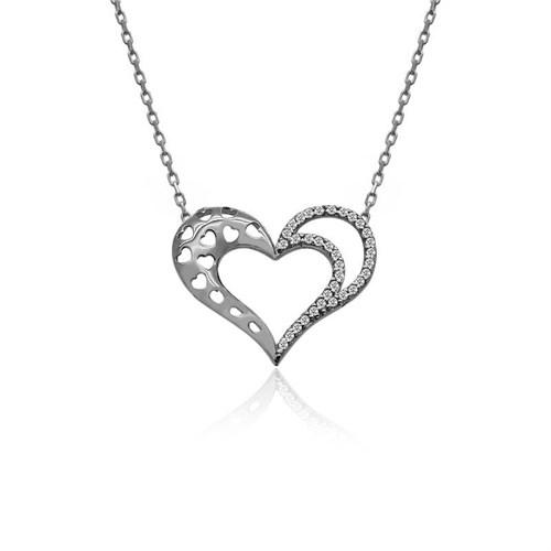 İndigo Takı Desenli Kalp Gümüş Kolye