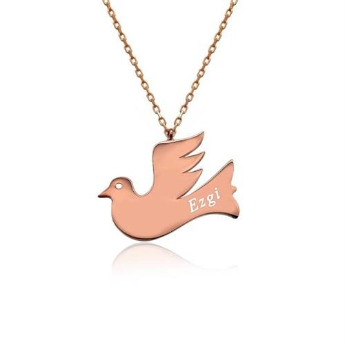 İndigo Takı Kişiye Özel İsimli Uçan Kuş Plaka Gümüş Kolye