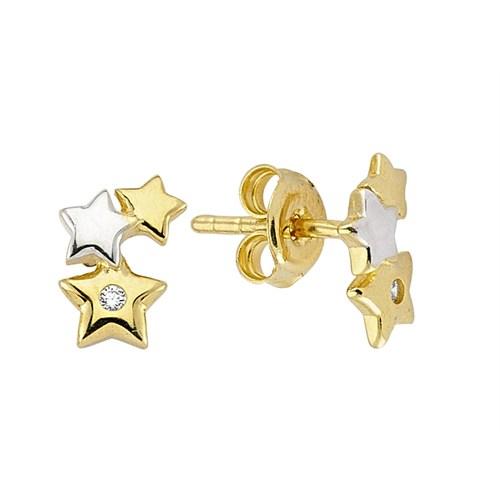 Koçak Gold 14 Ayar Sarı Altın Taşlı Yıldız Küpe