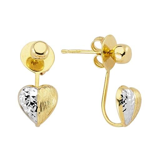Koçak Gold 14 Ayar Sarı Altın Kalp Küpe
