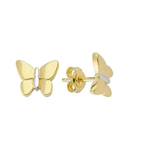 Koçak Gold 14 Ayar Sarı Altın Kelebek Küpe