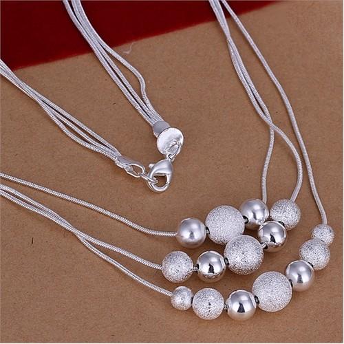 Byzinci Gümüş Boncuklu Üç Sıra Kolye