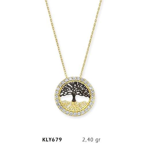 Romeo Pırlanta 14 Ayar Altın Hayat Ağacı Kolye Kly679