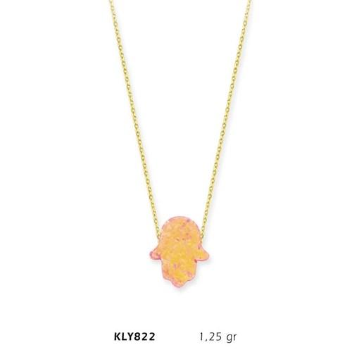Romeo Pırlanta 14 Ayar Altın Rose Opal Taşlı Fatma Eli Kolye Kly822