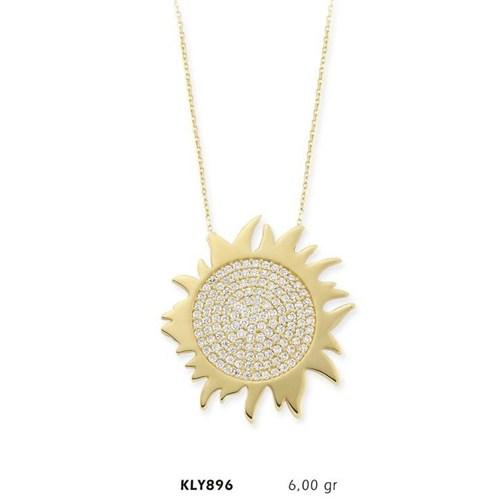 Romeo Pırlanta 14 Ayar Altın Güneş Kolye Kly896