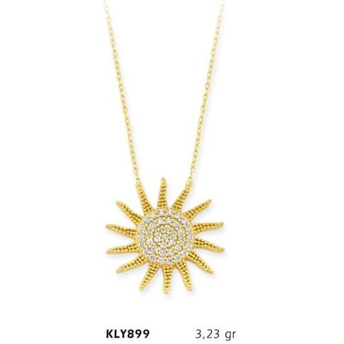Romeo Pırlanta 14 Ayar Altın Güneş Kolye Kly899
