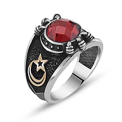 Tesbihane Özel Tasarım Kırmızı Zirkon Taşlı Gümüş Pençe Yüzük