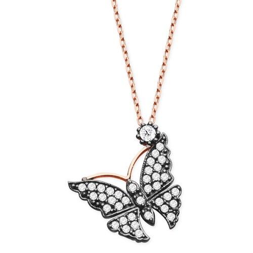 Tesbihane 925 Ayar Gümüş Beyaz Zirkon Taşlı Kelebek Kolye