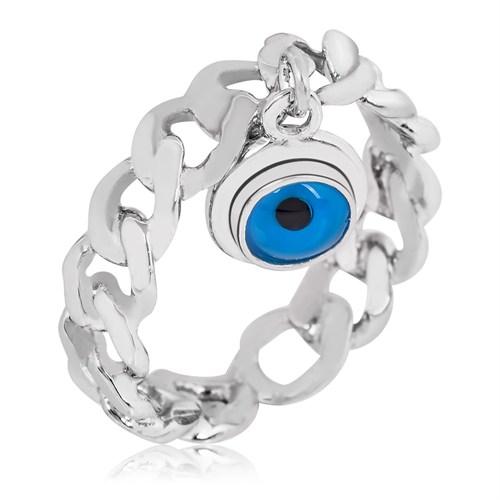 Tekbir Silver Gümüş Zincir Nazar Göz Yüzük