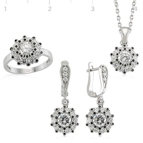 Tekbir Silver Gümüş Zirkon Taşlı Set