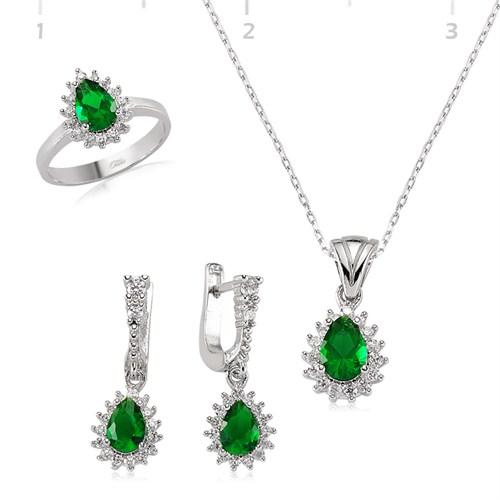 Tekbir Silver Gümüş Yeşil Zirkon Damla Set
