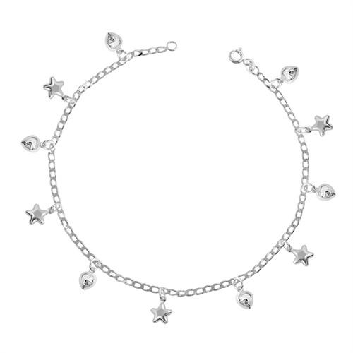 Tekbir Silver Gümüş Kalp Ve Yıldız Figürlü Halhal
