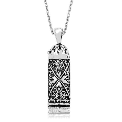 Tekbir Silver Gümüş Yonca Desenli Cevşen Kolye