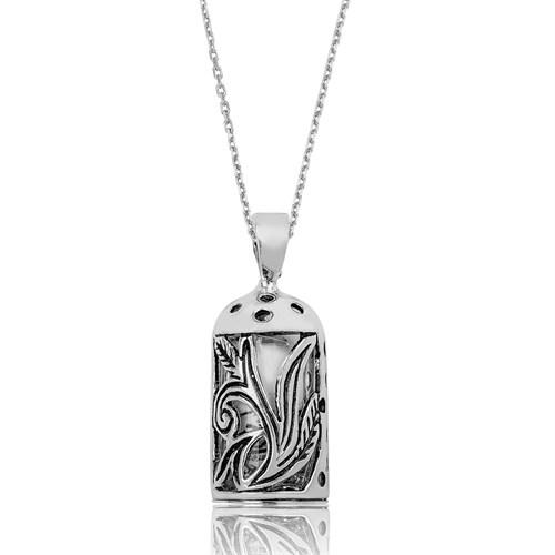 Tekbir Silver Gümüş Yaprak Desenli Cevşen Kolye